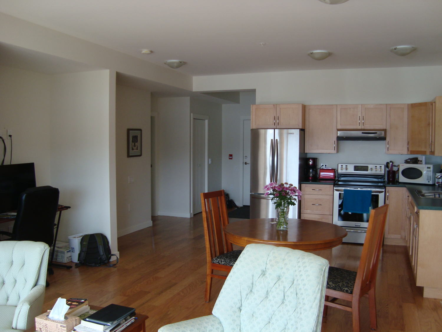 Available for sale or rental furnished two bedroom den ground floor unit